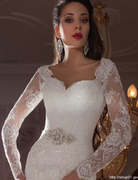 Sheer Long Sleeve Lace Wedding Dress Beading Sash Mermaid Wedding Dresses Vestido De Noiva 2015 Casamento Robe De Mariage MM07
