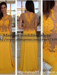2015 Vestidos Longos Fashionable Yellow A-Line Scoop See Through Sleeveless Long Lace Prom Dress Party Evening Elegant MF-16