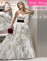 Wedding Dres 2013 New Design Ivory Sash Cascading Ruffles Strapless Sleeveless Custom Wedding Dress Wedding Ball Gowns JK013