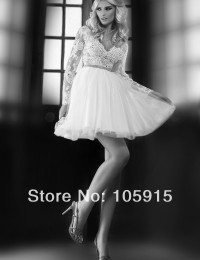 Vintage Sexy  Designer Ivory V-Neck Crystal Lace Ball Gown Real Sample Short Wedding Dresses Bridal Gowns Tulle SV-31