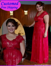 Real Samples Red Lace With Cap Sleeves Mother of the Bride Dresses Chiffon MA-102