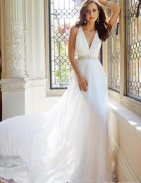 Vestido De Noiva White Deep V-Neck Sleeveless Lace See Through Pleat Beading Sash Long Elegant Mermaid Wedding Dress 2015 MF686