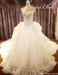Luxury Elegant Vintage A-Line Sweetheart Sleeveless Beaded Crystals Long White Lace With Big Train Wedding Dresses 2014 MF023
