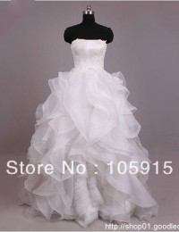 Actual Images Noble Red White Cascading Ruffles Strapless Optional Spaghetti Straps Lace Ball Gown Wedding Dresses Organza SV01