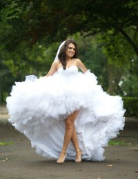 Sexy Charming Real photos White Lace Wedding Dress Short Front Long Back Bride Gowns  Free Shipping Tull MH2013