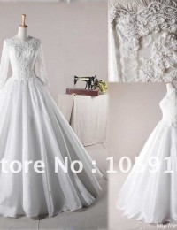 Pure White Ball Gown Scoop Floor-length Appliques Lace Wedding Dresses With Sleeves Satin HL-284
