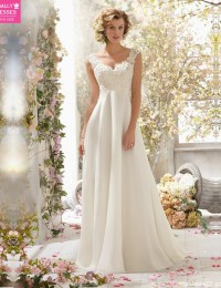 2015 Custom Made  Fashionable V-Neck Chiffon Detachable Back Cowl  A Line Lace Beach Wedding dresses Bridal Gowns