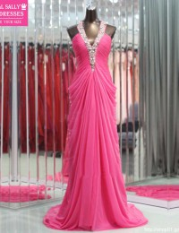 2013 Fashionable Peach Halter A-Line Floor-length Sleeveless Pleated Beaded Sparkling Prom Dresses Evening Gowns Chiffon HL-426