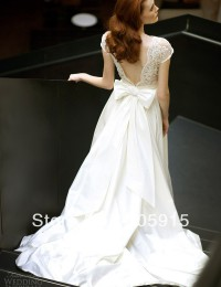 2014 New Design Fashion Pearls Bow Lace With Short Sleeves Sexy See Through V Back Wedding Dresses Satin VC-79